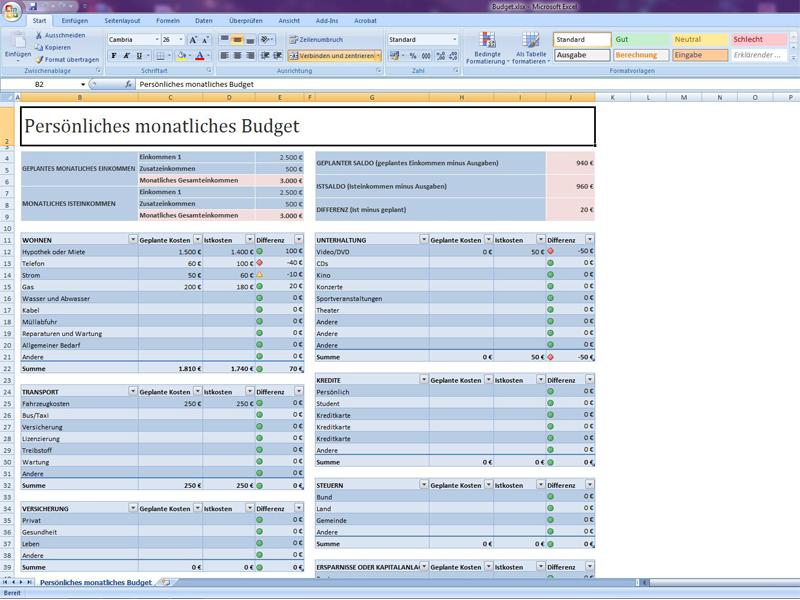 Persönliches monatliches Budget | Excelvorlage.de