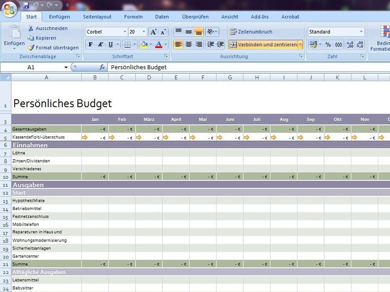 Persönliches Budget 2 | Excelvorlage.de