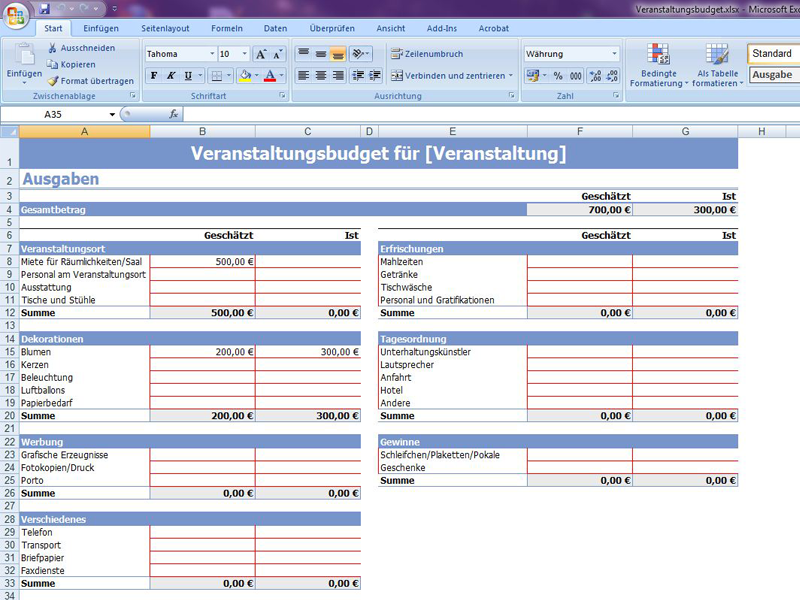 Fantastisch Haushalt Excel Budget Vorlage Ideen - Entry Level Resume ...
