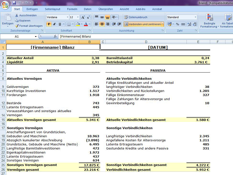 Bilanz mit Verhältnissen | Excelvorlage.de