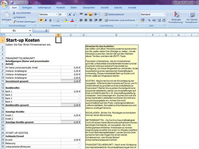 Start-up Kosten | Excelvorlage.de