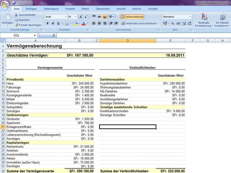 Vermögensberechnung | Excelvorlage.de
