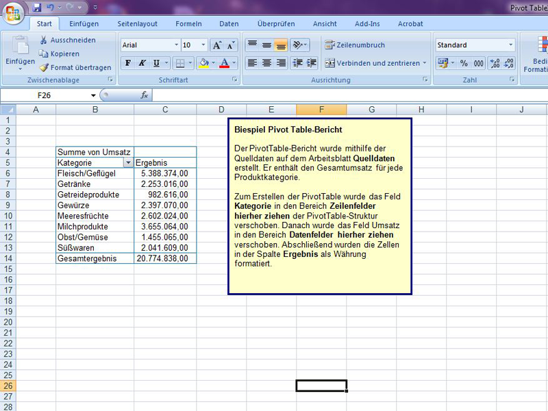 Pivot Table Excelvorlage De