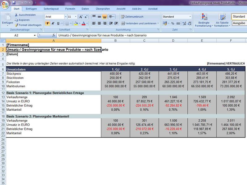 Ausgezeichnet Vorlage Für Monatliche Umsatzprognosen Zeitgenössisch ...