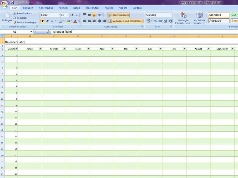 Ewiger kalender for Tabelle mit 9 spalten