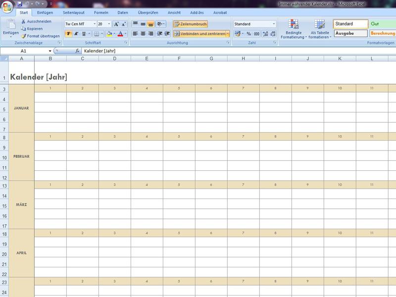 Immer währender Kalender | Excelvorlage.de