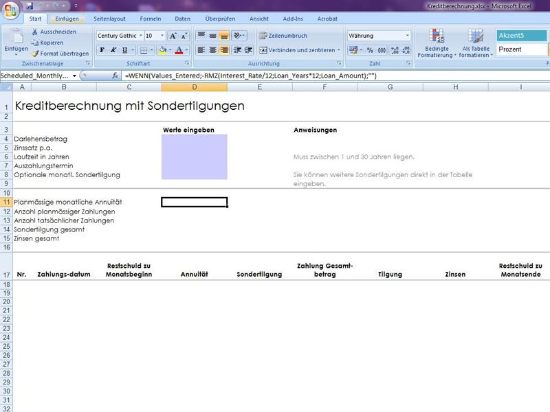Kreditberechnung mit Sondertilgungen 2   Excelvorlage.de