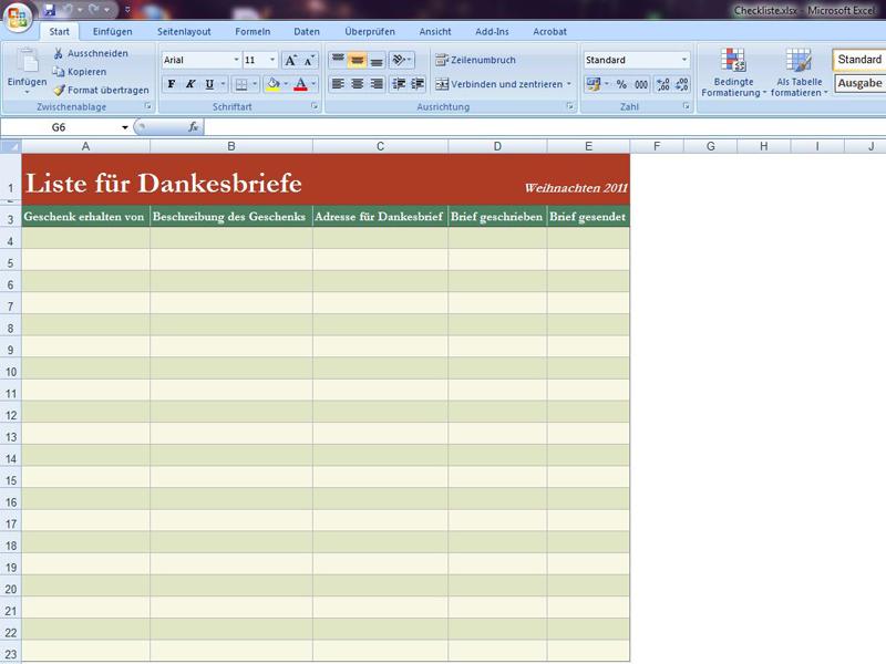 Checkliste Dankesbriefe | Excelvorlage.de