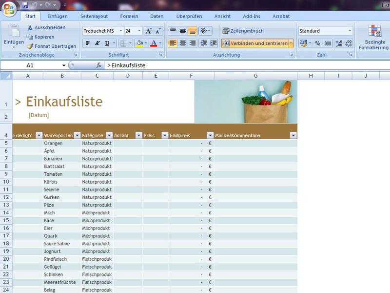 Einkaufsliste | Excelvorlage.de