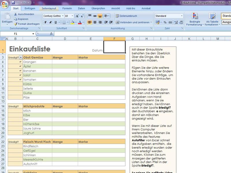 Einkaufsliste 3 | Excelvorlage.de