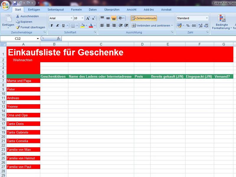 Einkaufsliste Geschenke | Excelvorlage.de