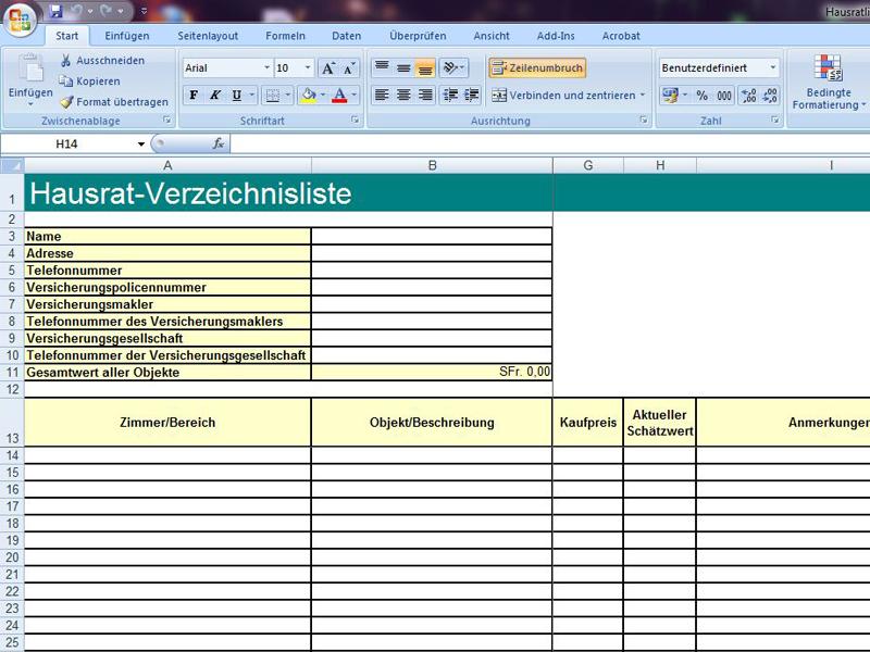 Hausratliste | Excelvorlage.de