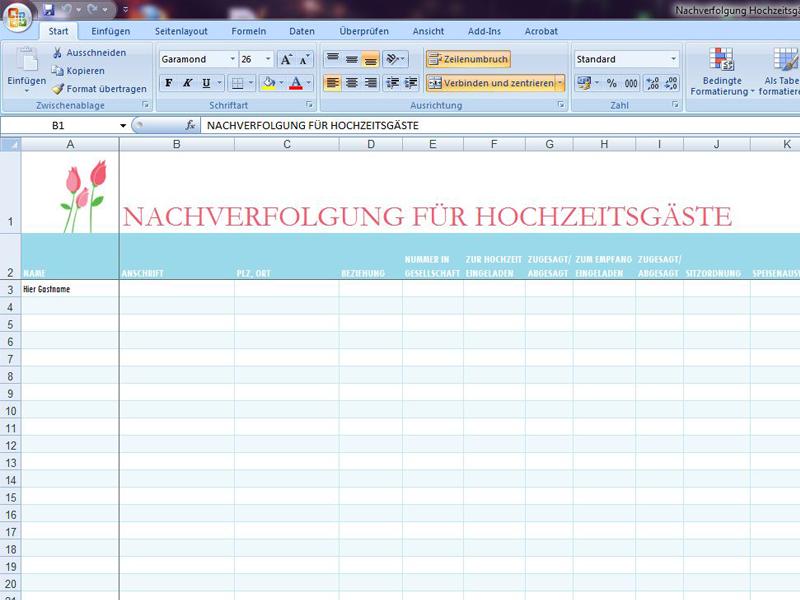 Berühmt Hochzeit Liste Vorlage Excel Bilder - Entry Level Resume ...