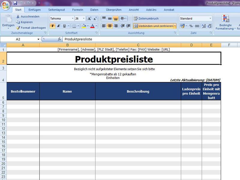 Produktpreisliste Excelvorlagede