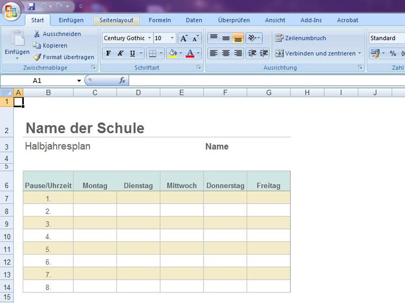 Stundenplan | Excelvorlage.de
