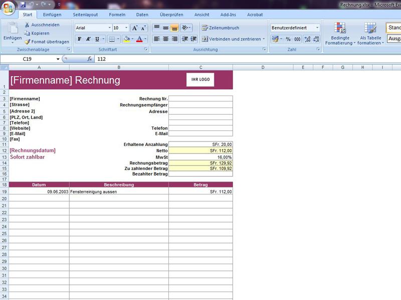 Rechnung Mit Abzug Anzahlung Excelvorlagede