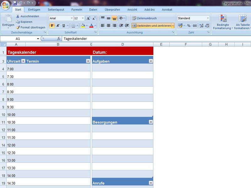 Tagesplan | Excelvorlage.de