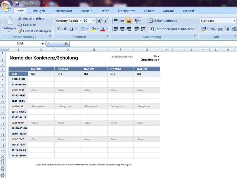 Zeitplan für fünf Tage | Excelvorlage.de