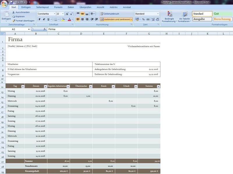 Zeitplan Zweiwöchig | Excelvorlage.de